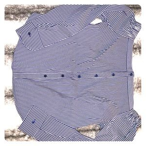 Blue and white stripped off the shoulder top